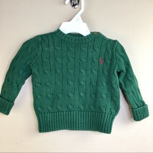 Ralph Lauren Cable Knit Christmas Green Sweater 9M